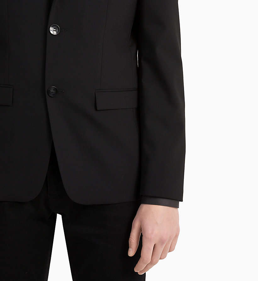 CALVINKLEIN Slim Wool Stretch Blazer - MIDNIGHT NAVY - CALVIN KLEIN MEN - detail image 3
