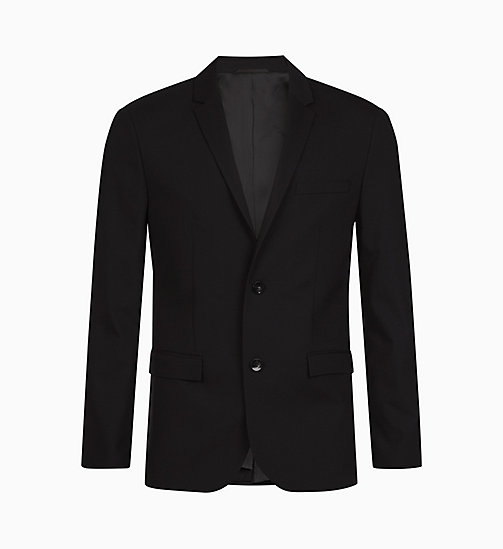 CALVIN KLEIN Slim wollen stretch blazer - PERFECT BLACK - CALVIN KLEIN MODERNE HERENKLEDING - main image