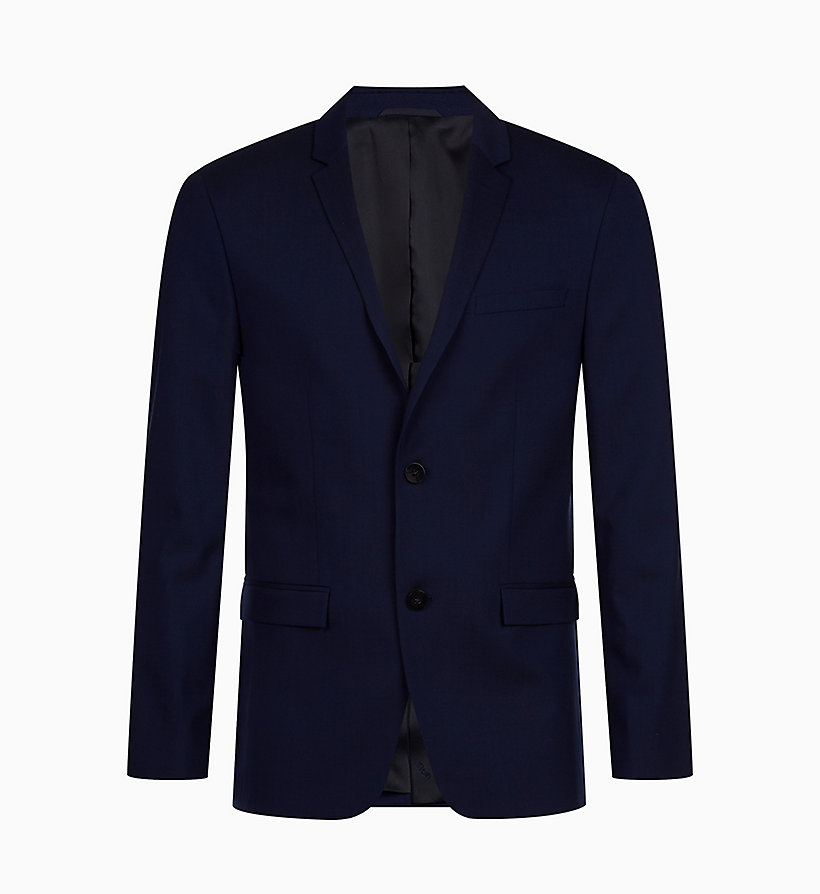 CALVINKLEIN Slim Wool Stretch Blazer - PERFECT BLACK - CALVIN KLEIN MEN - main image