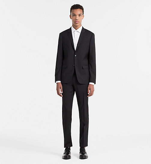 CALVIN KLEIN Fitted Refined Wool Trousers - PERFECT BLACK - CALVIN KLEIN TROUSERS & SHORTS - detail image 1