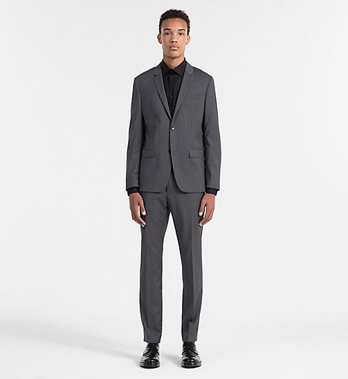 CALVIN KLEIN Fitted Refined Wool Trousers - ASPHALT - CALVIN KLEIN TROUSERS & SHORTS - detail image 1