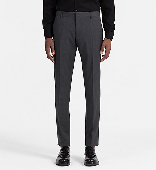 CALVIN KLEIN Fitted Refined Wool Trousers - ASPHALT - CALVIN KLEIN TROUSERS & SHORTS - main image