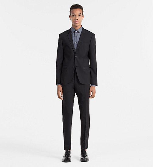 CALVIN KLEIN Slim Wool Trousers - PERFECT BLACK - CALVIN KLEIN TROUSERS & SHORTS - detail image 1