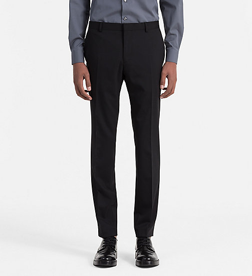 CALVIN KLEIN Slim Wool Trousers - PERFECT BLACK - CALVIN KLEIN TROUSERS & SHORTS - main image