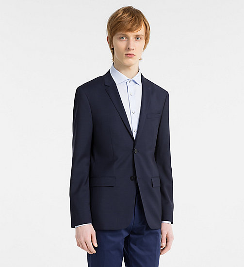 CALVINKLEIN Fitted Textured Wool Blazer - TRUE NAVY - CALVIN KLEIN CLOTHES - main image