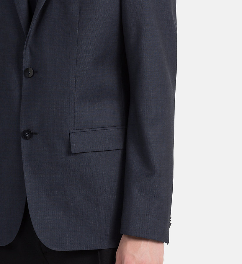 CALVINKLEIN Fitted Textured Wool Blazer - TRUE NAVY - CALVIN KLEIN MEN - detail image 3