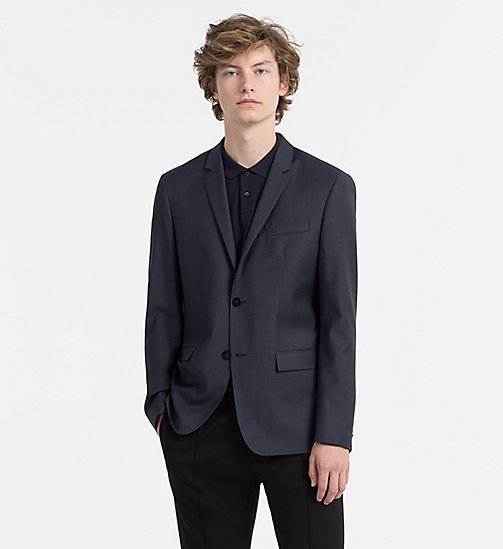 CALVINKLEIN Fitted Textured Wool Blazer - BLUE NIGHTS - CALVIN KLEIN BACK IN BUSINESS - main image