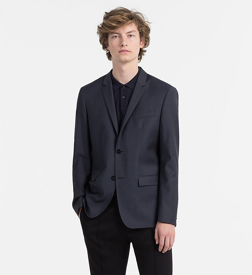 CALVINKLEIN Fitted Textured Wool Blazer - TRUE NAVY - CALVIN KLEIN MEN - main image