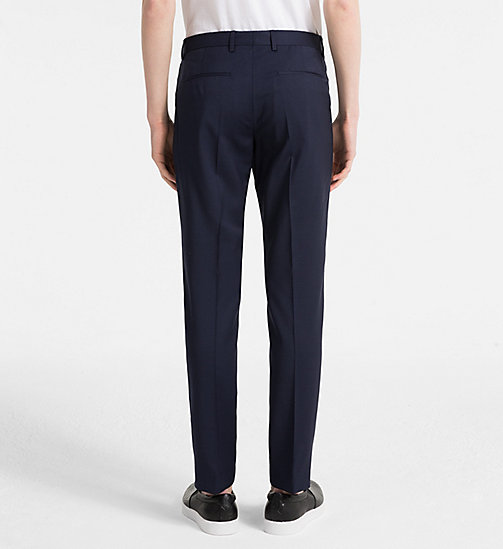 CALVINKLEIN Fitted Textured Wool Trousers - TRUE NAVY - CALVIN KLEIN NEW IN - detail image 1