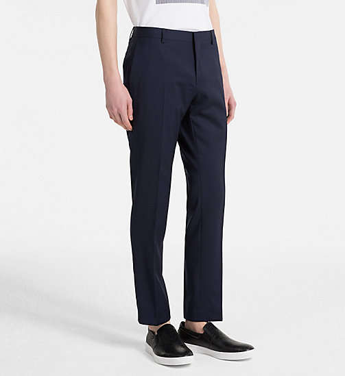 CALVINKLEIN Fitted Textured Wool Trousers - TRUE NAVY - CALVIN KLEIN NEW IN - main image
