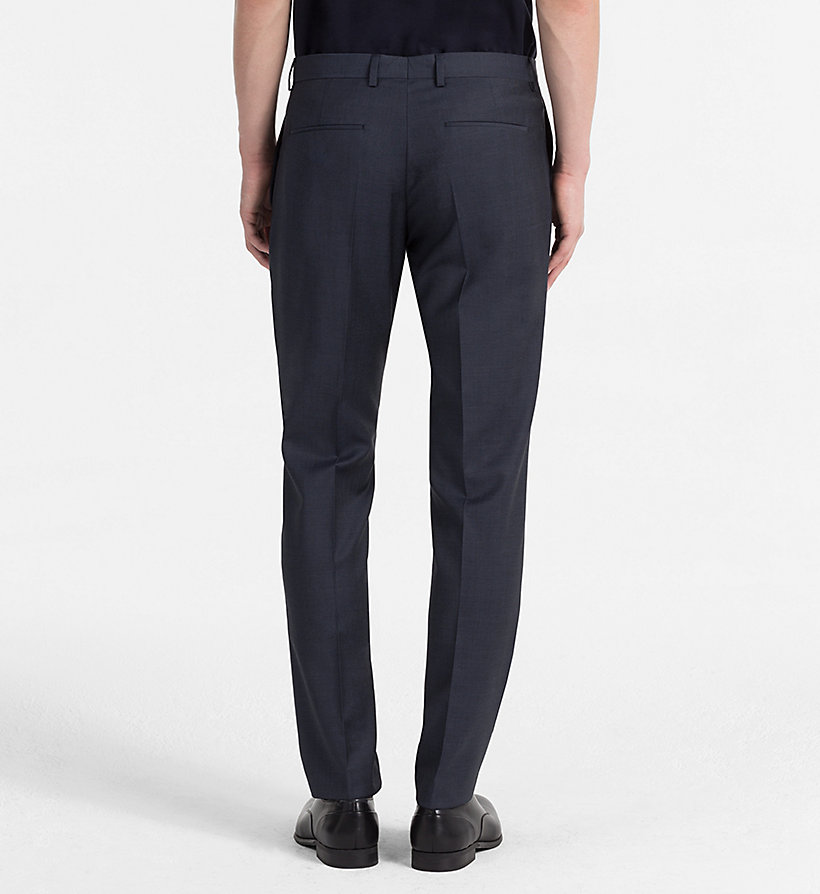 CALVINKLEIN Fitted Textured Wool Trousers - TRUE NAVY - CALVIN KLEIN MEN - detail image 1