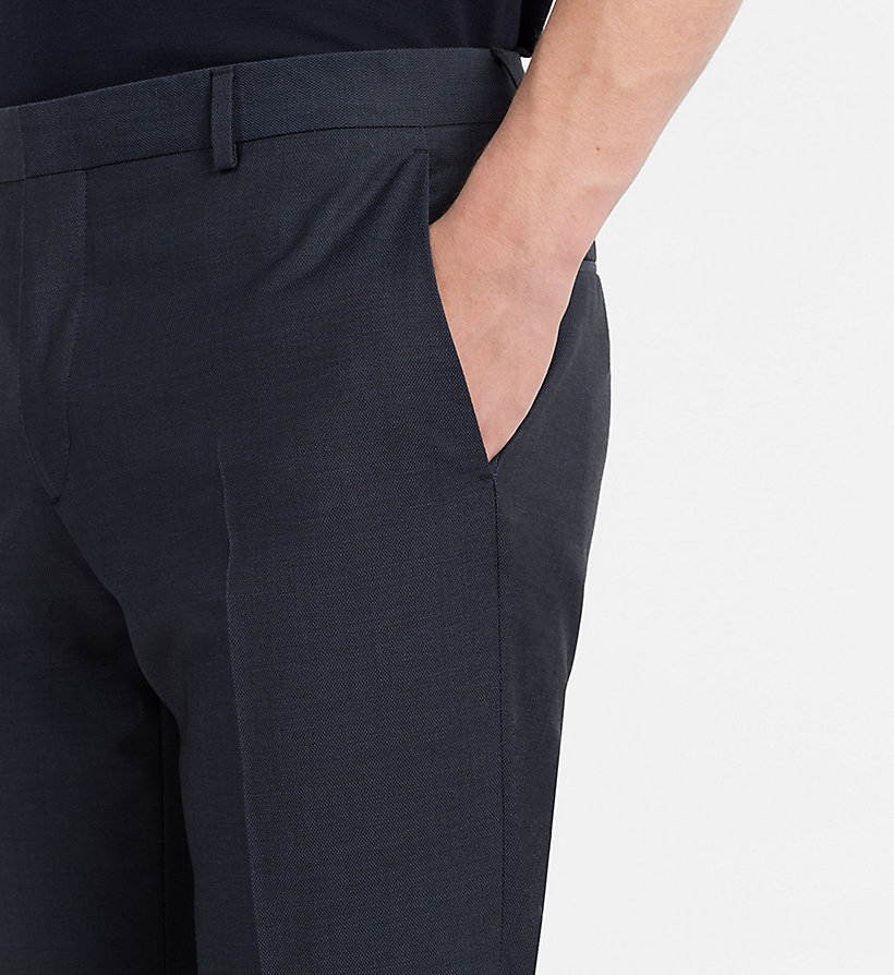 CALVINKLEIN Fitted Textured Wool Trousers - TRUE NAVY - CALVIN KLEIN MEN - detail image 2