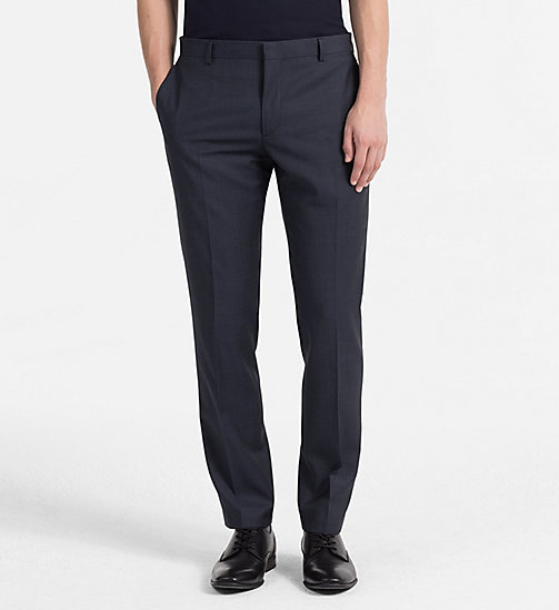 CALVINKLEIN Fitted Textured Wool Trousers - BLUE NIGHTS -  BACK IN BUSINESS - main image