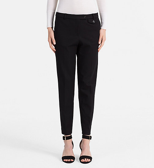 CALVINKLEIN Cotton Stretch Cropped Trousers - BLACK - CALVIN KLEIN FEELING FESTIVE - main image