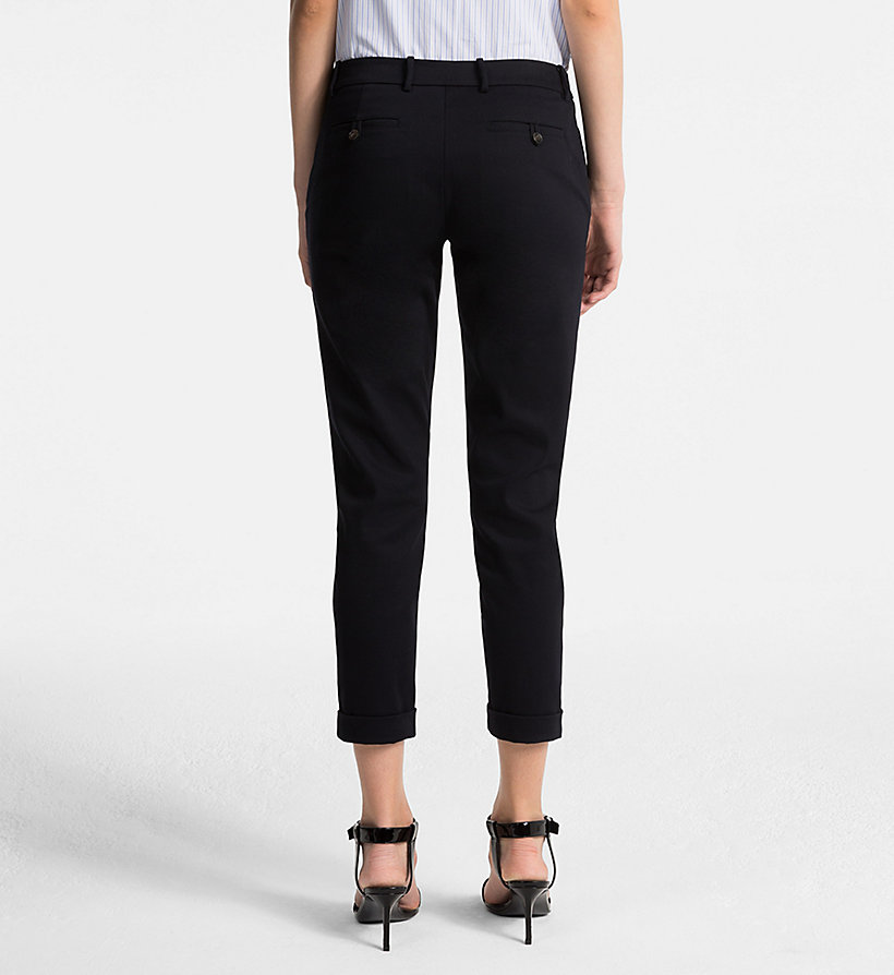 CALVINKLEIN Cotton Stretch Cropped Trousers - BLACK - CALVIN KLEIN WOMEN - detail image 1