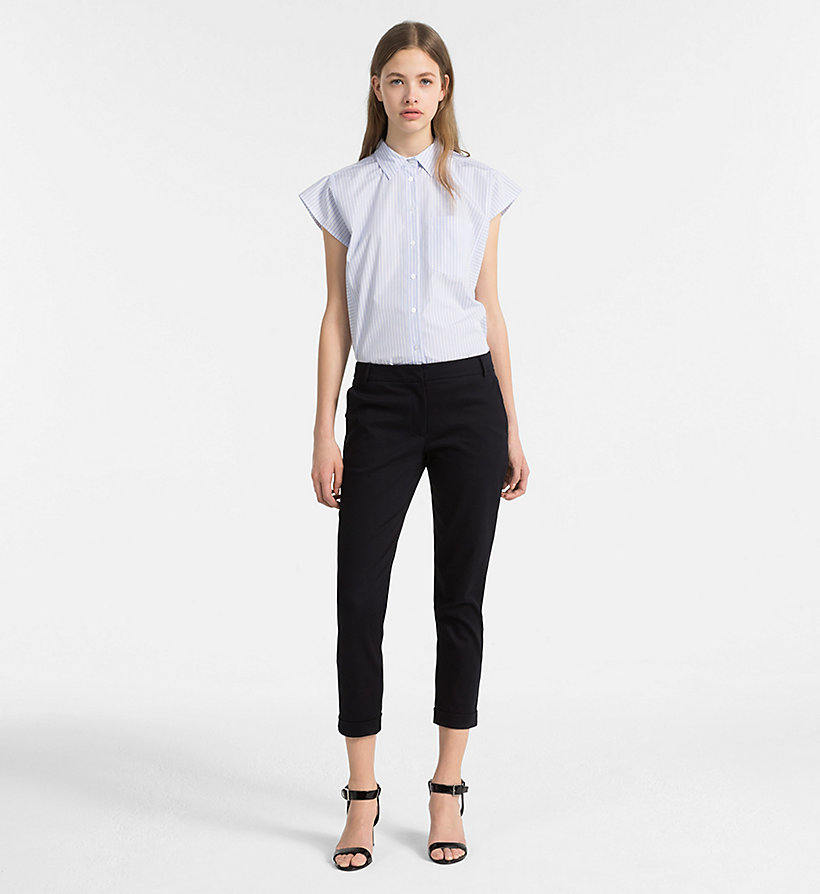 CALVINKLEIN Cotton Stretch Cropped Trousers - BLACK - CALVIN KLEIN WOMEN - detail image 3