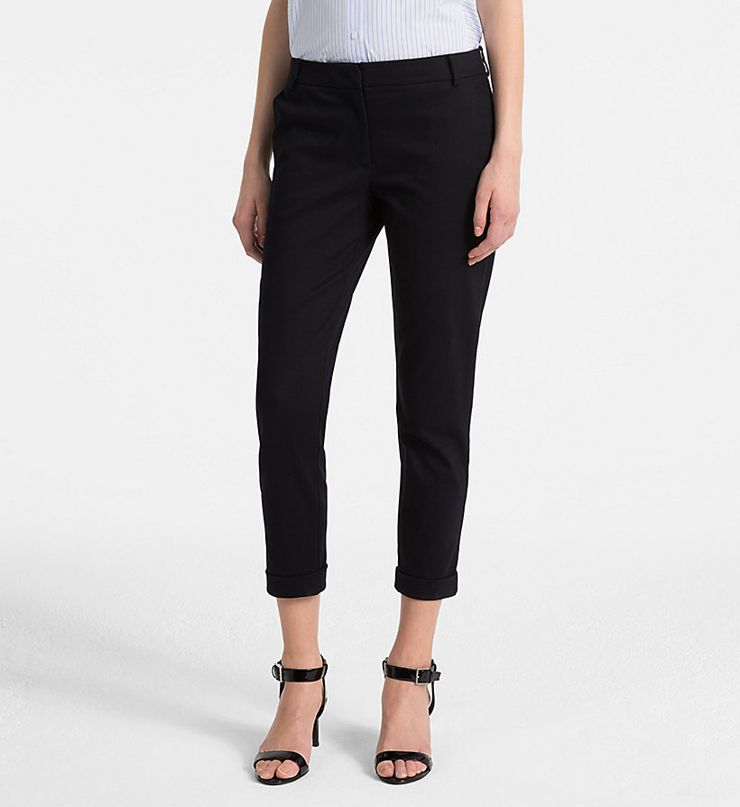 CALVINKLEIN Cotton Stretch Cropped Trousers - BLACK - CALVIN KLEIN WOMEN - main image