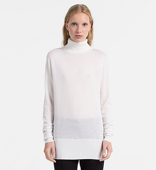 CALVINKLEIN Wool Silk Turtleneck Sweater - MARSHMALLOW - CALVIN KLEIN KNITWEAR - main image