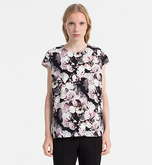 CALVINKLEIN Silk Printed Top - FADED FLORAL PRT - CALVIN KLEIN TOPS - main image