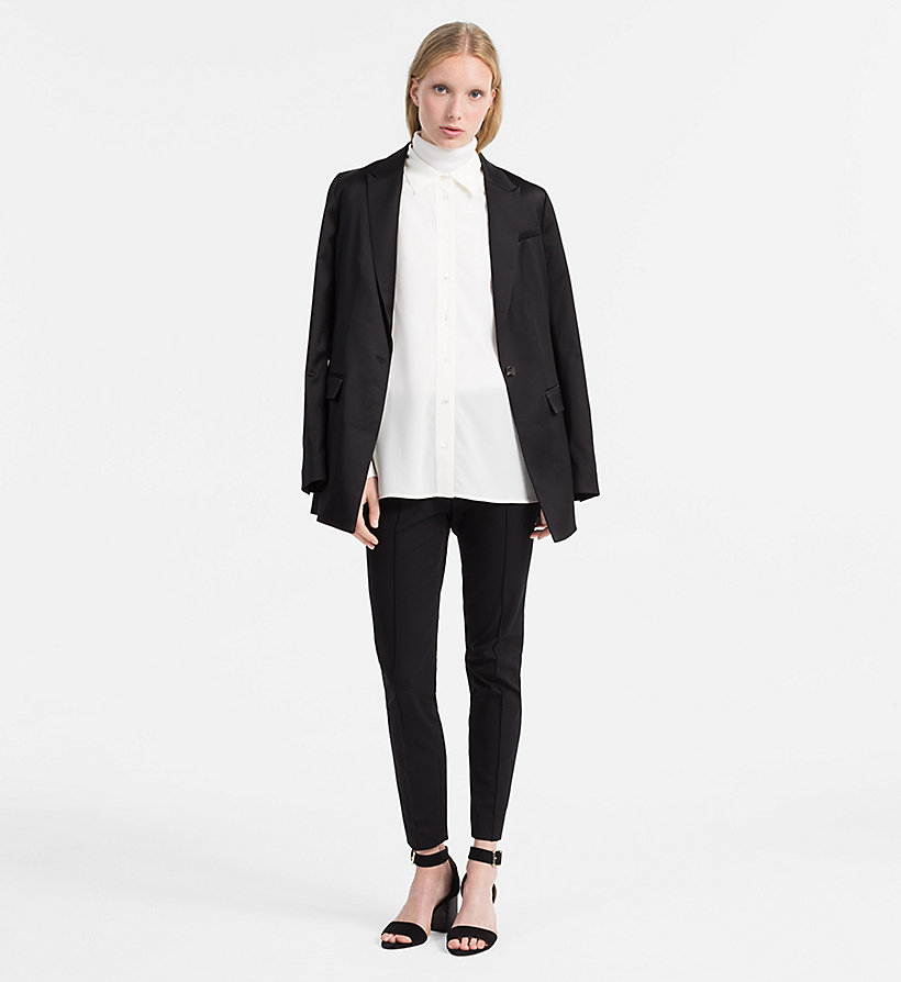 CALVINKLEIN Washed Silk Shirt - BLACK - CALVIN KLEIN WOMEN - detail image 1