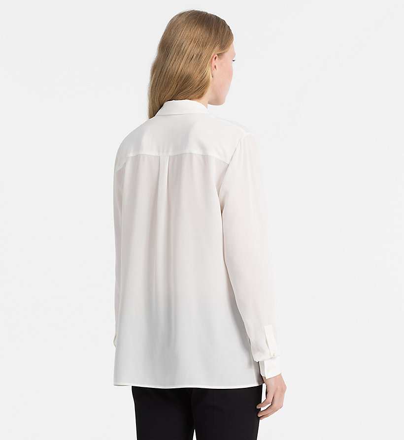 CALVINKLEIN Washed Silk Shirt - BLACK - CALVIN KLEIN WOMEN - detail image 3