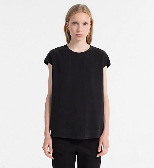 CALVINKLEIN Silk Cap-Sleeve Top - BLACK - CALVIN KLEIN TOPS - main image