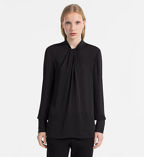 CALVINKLEIN Chiffon Twist Neck Blouse - BLACK - CALVIN KLEIN TOPS - main image