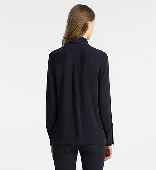 CALVINKLEIN Chiffon Tie Neck Blouse - LIGHT NAVY - CALVIN KLEIN TOPS - detail image 1