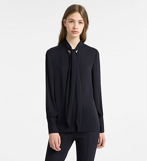 CALVINKLEIN Chiffon Tie Neck Blouse - LIGHT NAVY - CALVIN KLEIN TOPS - main image