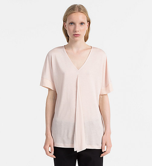 CALVINKLEIN Jersey Draped Front Top - PEACH WHIP - CALVIN KLEIN FEELING FESTIVE - main image