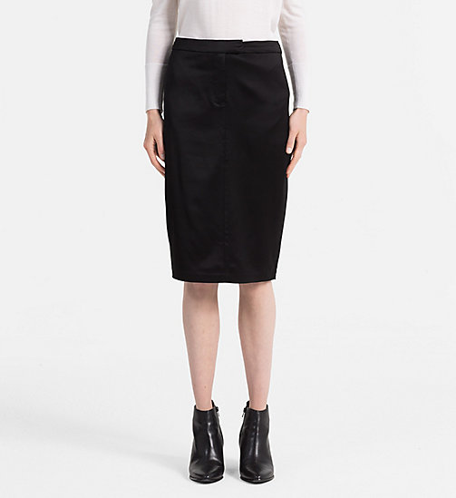 CALVINKLEIN Satin Pencil Skirt - BLACK - CALVIN KLEIN SKIRTS - main image