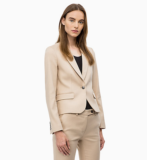 CALVIN KLEIN Cotton Stretch Blazer - CHINO - CALVIN KLEIN WOMEN - main image