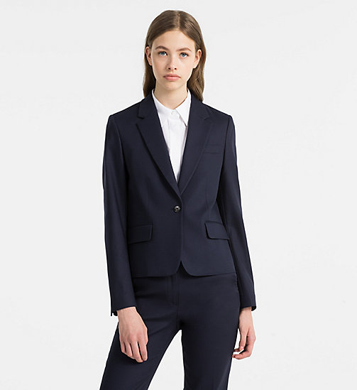 CALVINKLEIN Cotton Stretch Fitted Blazer - LIGHT NAVY - CALVIN KLEIN COATS & JACKETS - main image