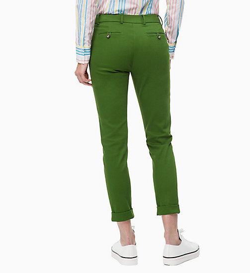 CALVINKLEIN Cropped Chino Trousers - AIR FORCE GREEN - CALVIN KLEIN TROUSERS - detail image 1