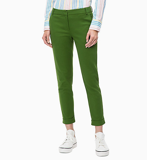 CALVIN KLEIN Cropped Chino Trousers - AIR FORCE GREEN - CALVIN KLEIN CLOTHES - main image