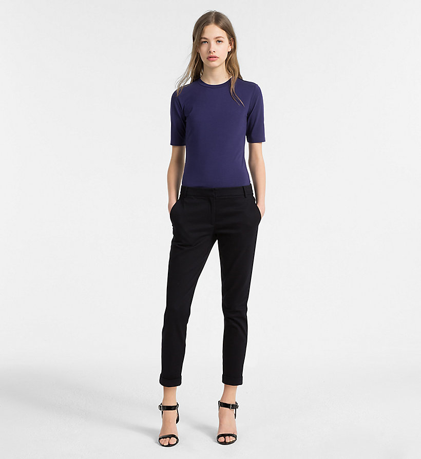 CALVINKLEIN Cropped Chino Trousers - BLACK - CALVIN KLEIN WOMEN - detail image 3