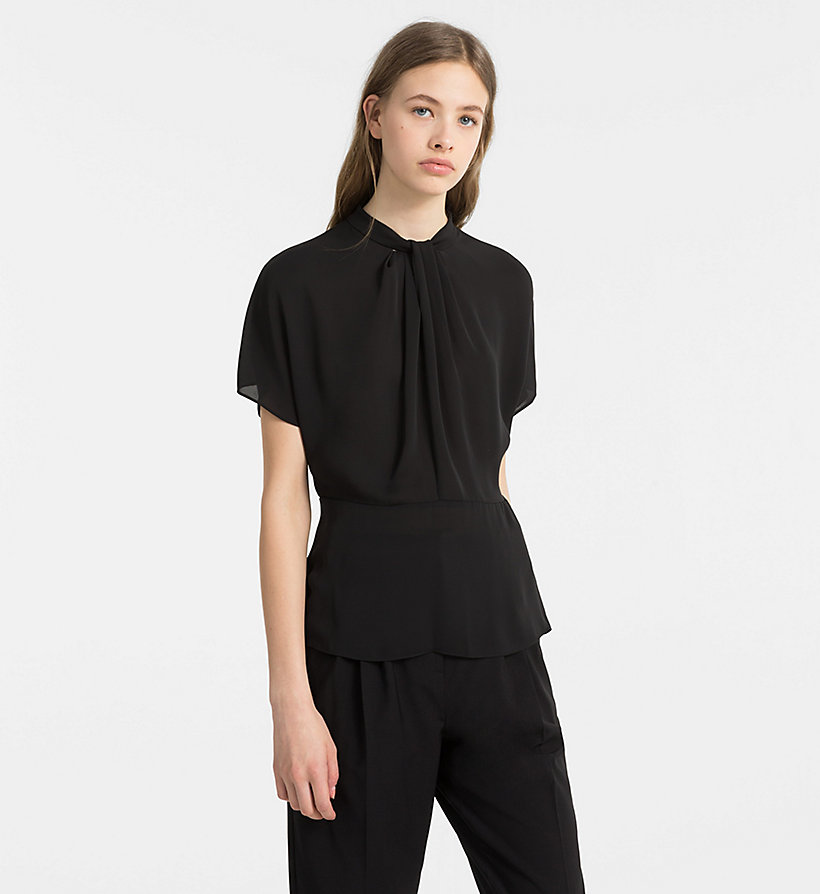 CALVINKLEIN Chiffon Twist Neck Top - CHALK - CALVIN KLEIN WOMEN - main image