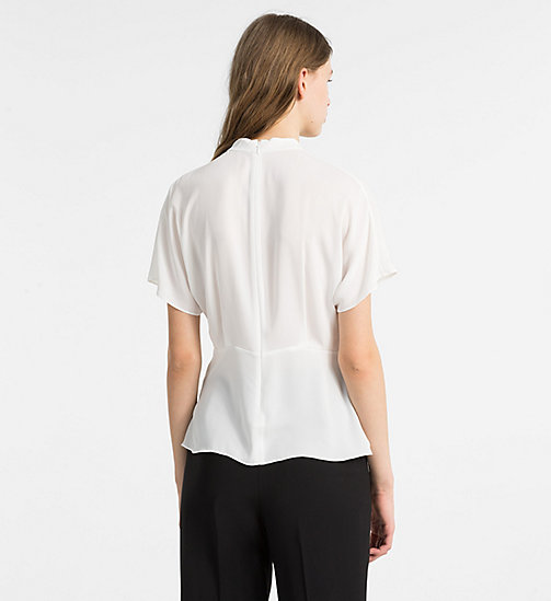 CALVINKLEIN Chiffon Twist Neck Top - CHALK - CALVIN KLEIN TOPS - detail image 1