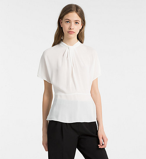 CALVINKLEIN Chiffon Twist Neck Top - CHALK - CALVIN KLEIN TOPS - main image