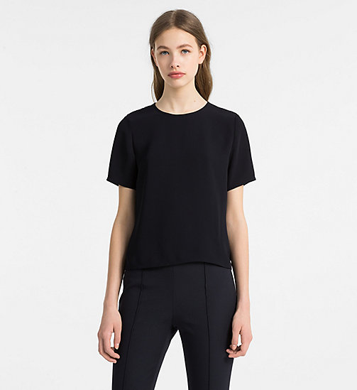 CALVINKLEIN Drape Back Short-Sleeve Top - LIGHT NAVY - CALVIN KLEIN TOPS - main image