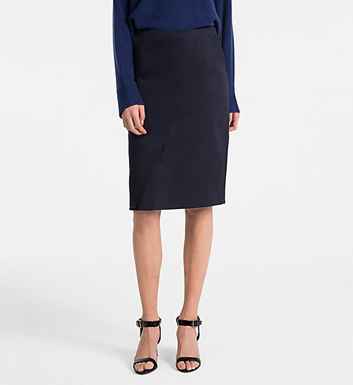 CALVINKLEIN Cotton Stretch Wrap-Effect Skirt - LIGHT NAVY - CALVIN KLEIN CLOTHES - main image