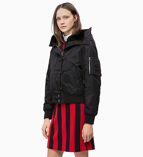 CALVINKLEIN Hooded Bomber Jacket - BLACK - CALVIN KLEIN JACKETS - main image