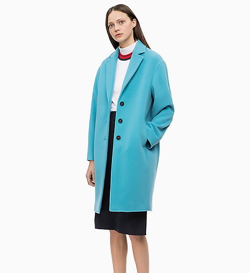 CALVINKLEIN Oversized Wool Blend Coat - AZURE - CALVIN KLEIN INVEST IN COLOUR - main image