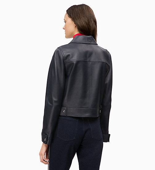 CALVINKLEIN Leather Trucker Jacket - DEEP NAVY - CALVIN KLEIN INVEST IN COLOUR - detail image 1