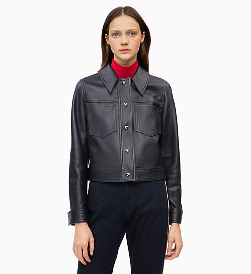 CALVINKLEIN Leather Trucker Jacket - DEEP NAVY - CALVIN KLEIN INVEST IN COLOUR - main image