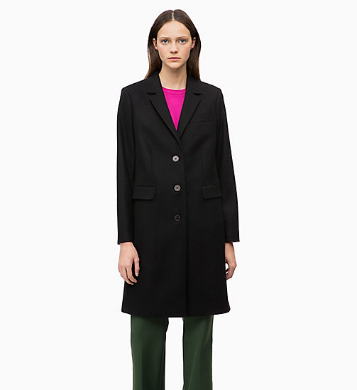 CALVIN KLEIN Wool Blend Coat - BLACK - CALVIN KLEIN COATS - main image