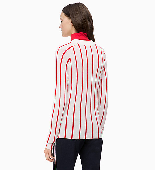 CALVINKLEIN Wool Stripe Jumper - CHALK / CRIMSON - CALVIN KLEIN INVEST IN COLOUR - detail image 1