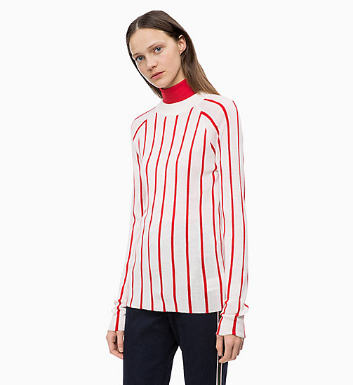 CALVINKLEIN Wool Stripe Jumper - CHALK / CRIMSON - CALVIN KLEIN INVEST IN COLOUR - main image