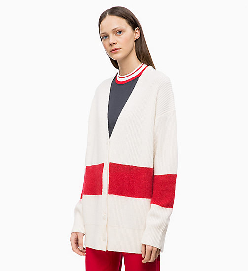 CALVINKLEIN Wool Cashmere Cardigan - CHALK / CRIMSON - CALVIN KLEIN INVEST IN COLOUR - main image