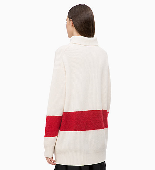 CALVINKLEIN Oversized Wool Cashmere Jumper - CHALK / CRIMSON - CALVIN KLEIN INVEST IN COLOUR - detail image 1